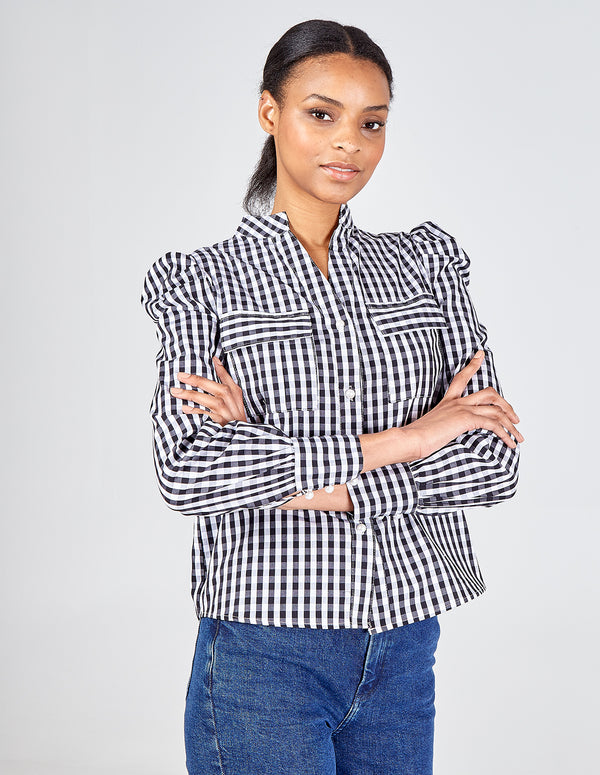 SANA - Gingham Puff Sleeve Pocket Shirt