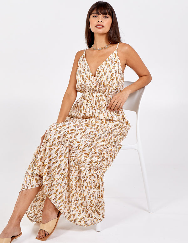 LORELEI - Gold Detail Tiered Wrap Front Maxi Dress