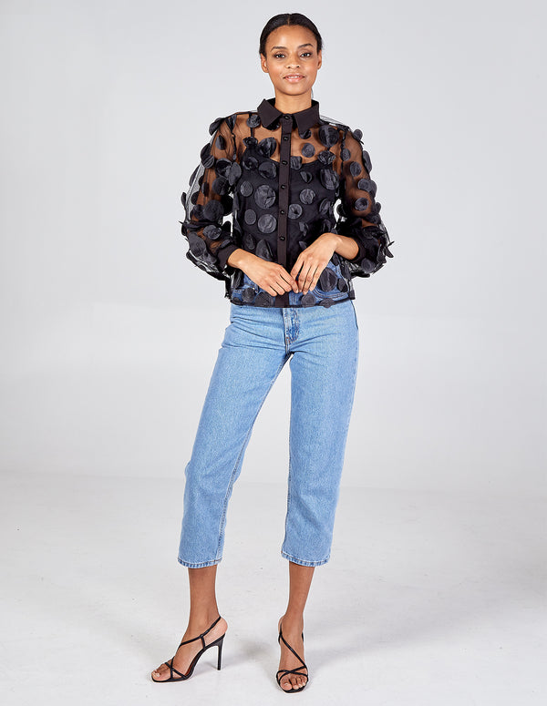 DIXIE - Textured Polka Dot Balloon Sleeve Sheer Blouse