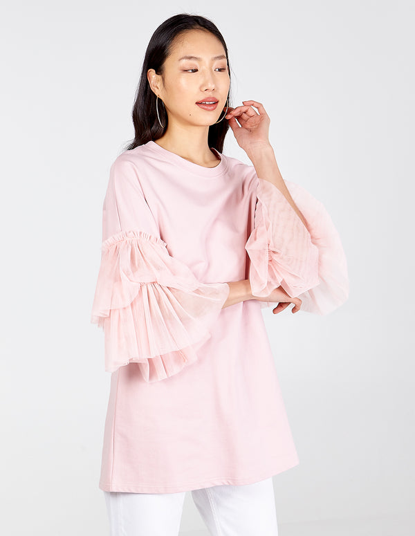 SORAYA - Frill Tulle Short Sleeve Top