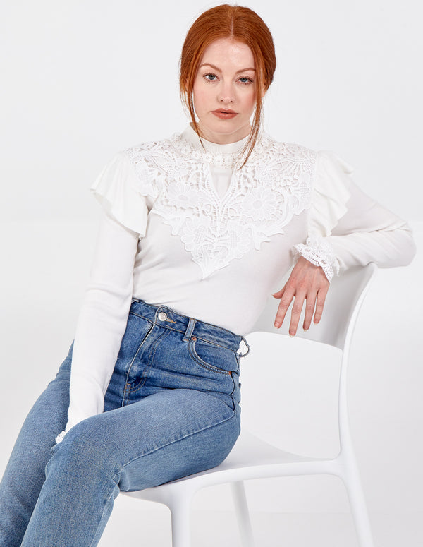 MARTA - High Neck Lace Front Trim Jumper