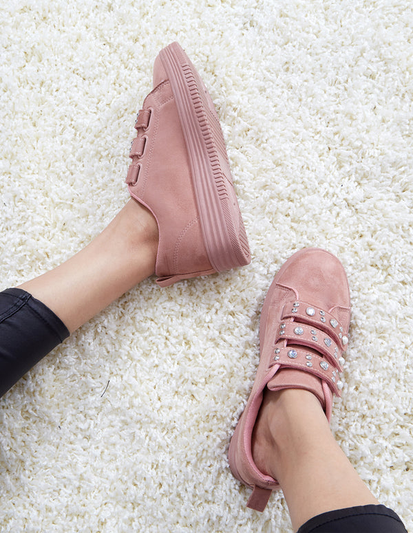 NEOMA - Suede Pearls & Studds Pink Trainers