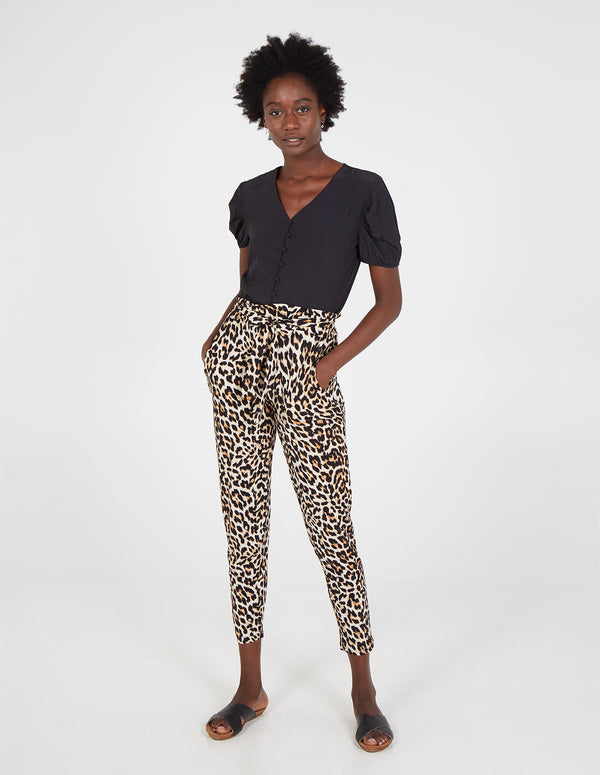 RYLIE - Paperbag Waist Leopard Print Trousers