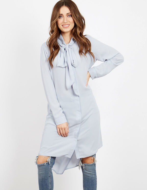 HETTY - Pussybow Power Blue Shirt Dress