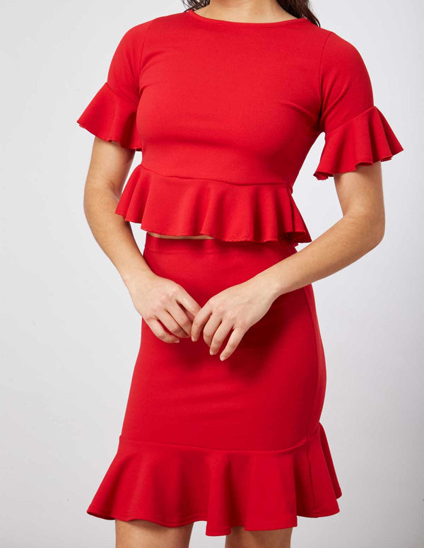 DONATA - Frill Hem Red Skirt