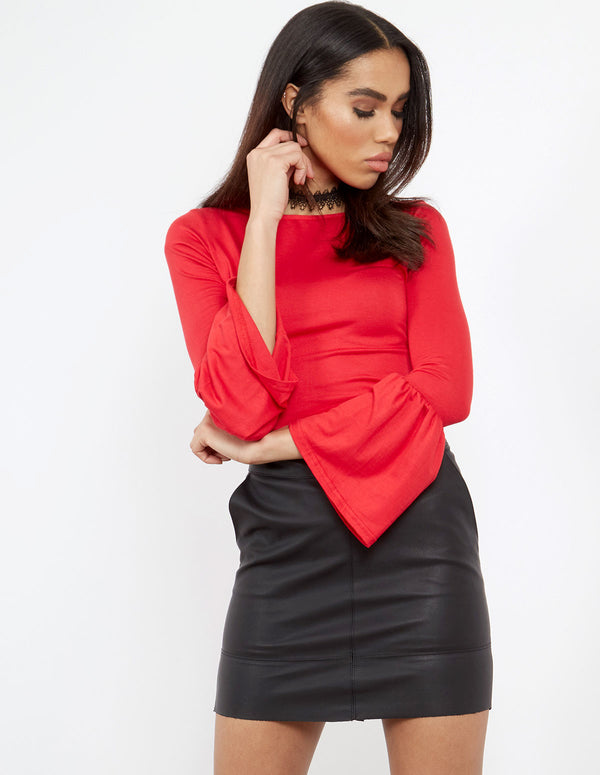 LYRIC - Flared Sleeve Top Red