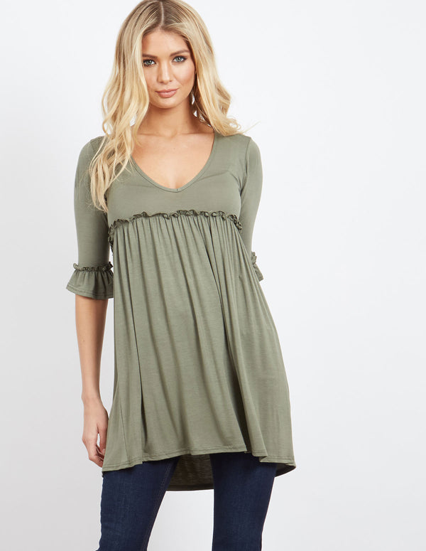 BILLIE - Baby Doll Tunic Khaki