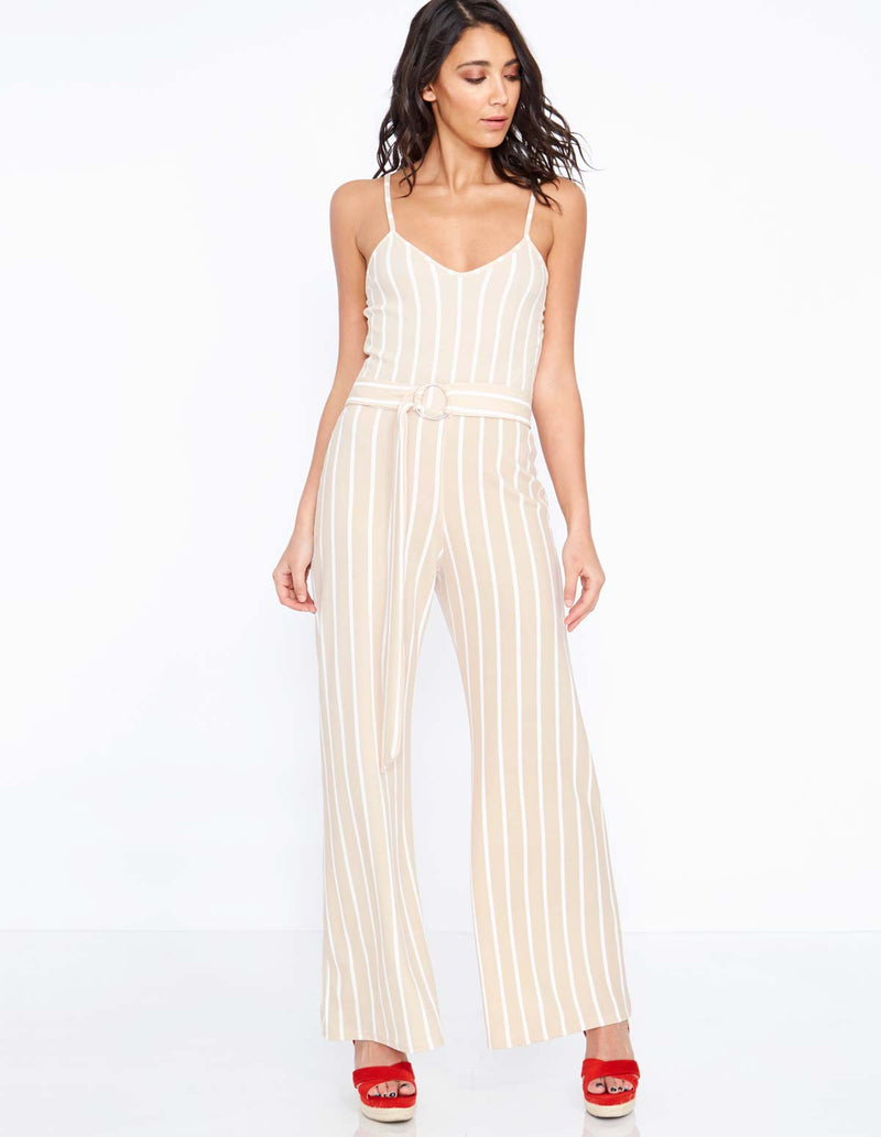 ALDIS - Stripe Buckle Belt Stone Jumpsuit