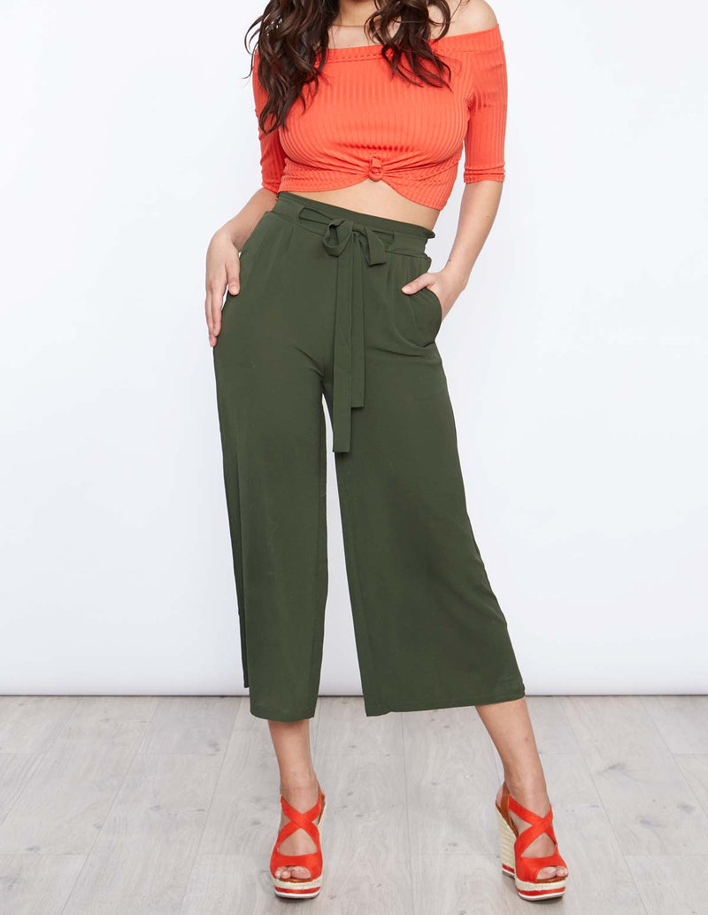 DARLA - Orange Ribbed Tie Knot Top