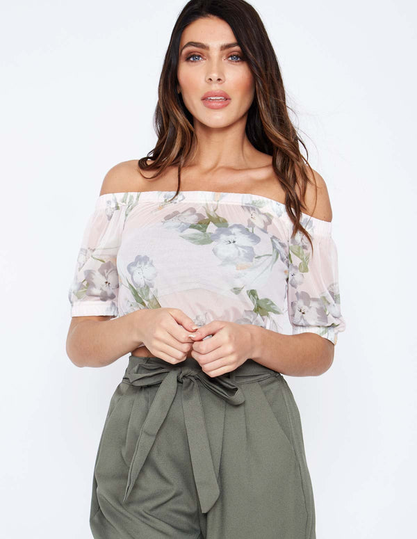 BRIELLA - Floral Crop Mesh Pink Top