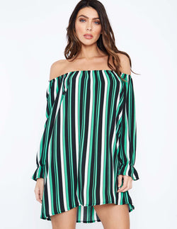 ADILENE - Striped Bardot Tunic Dress
