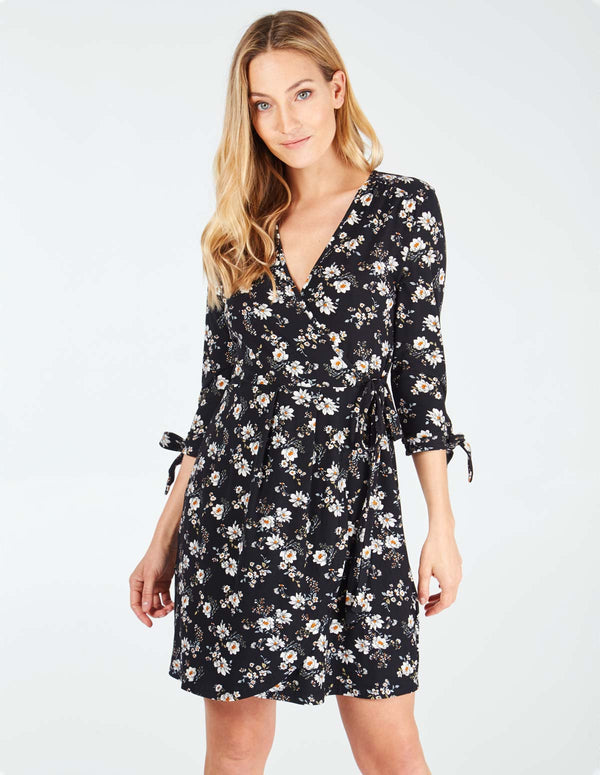 NAMY - Tie Sleeve Wrap Black Dress