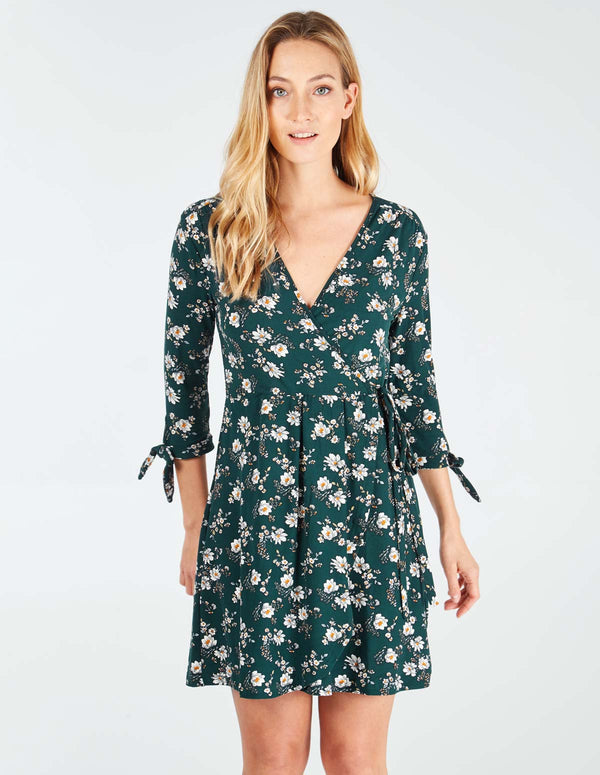 NAMY - Tie Sleeve Wrap Green Dress