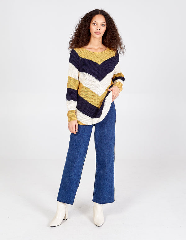 DORIT - Chevron Stripe Curved Hem Navy Jumper