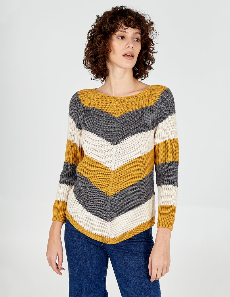 DORIT - Chevron Stripe Curved Hem Mustard Jumper