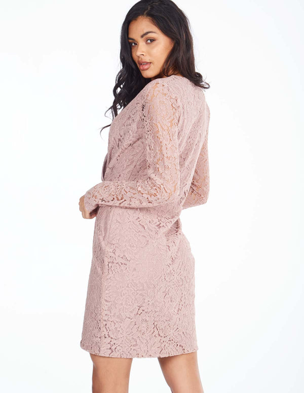 TAMARA - Long Sleeve Wrap Nude Lace Dress