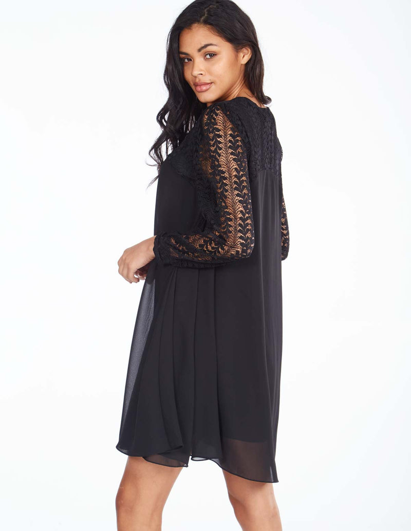 SABINE - Lace Sleeve Tunic Black Dress