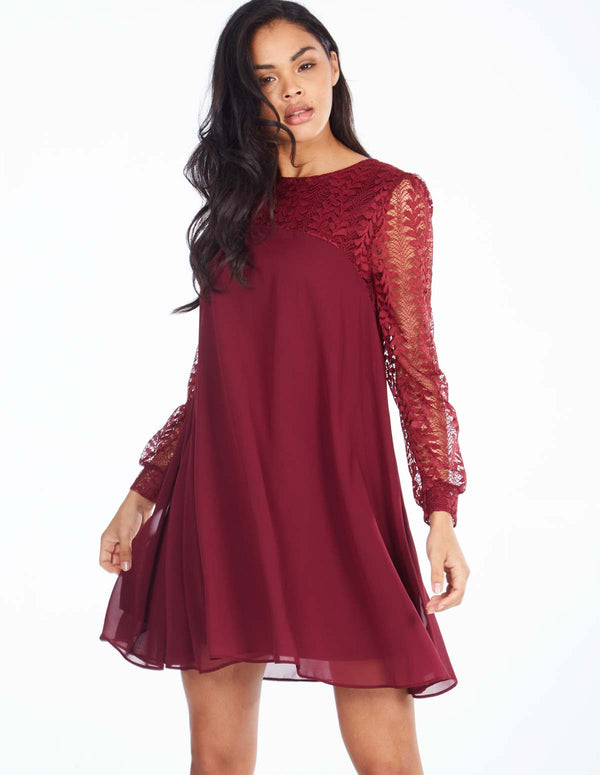 SABINE - Lace Sleeve Tunic Wine Dress
