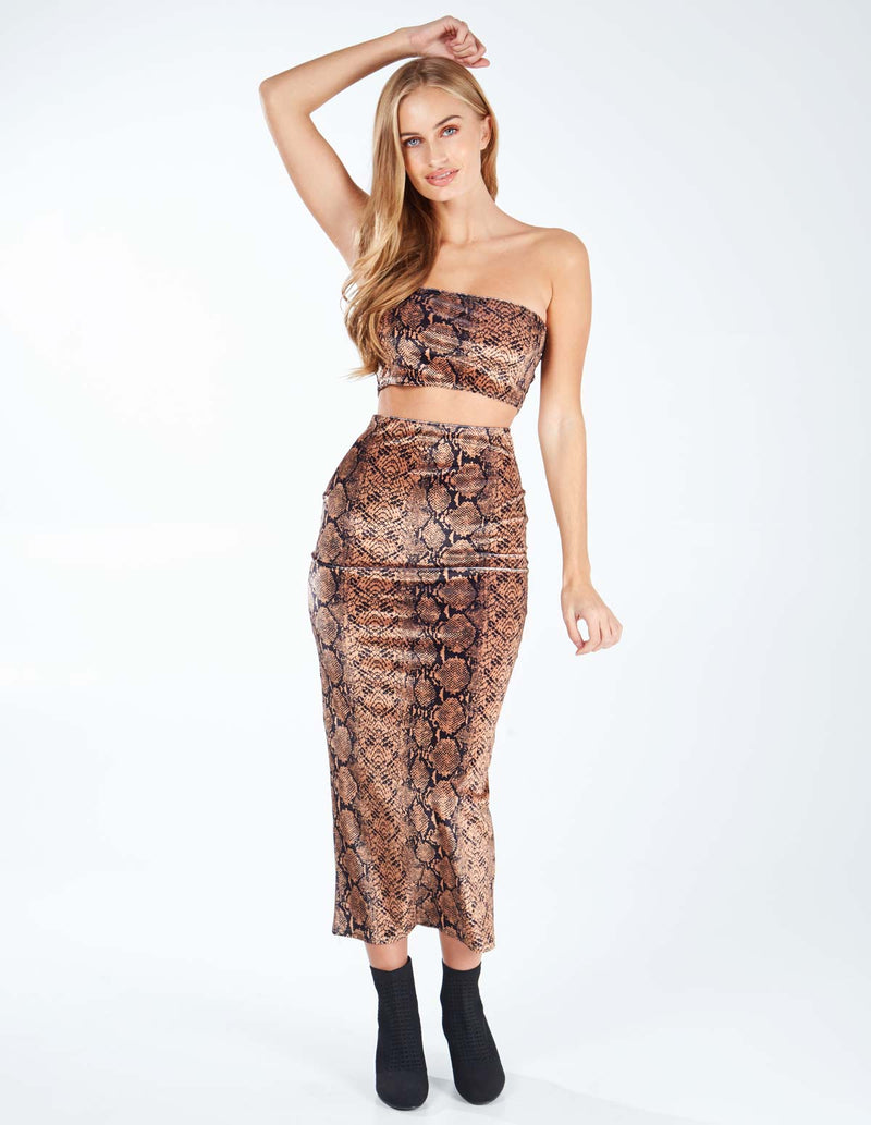 SENARA - Tan Snakeskin Boob Tube Skirt Set