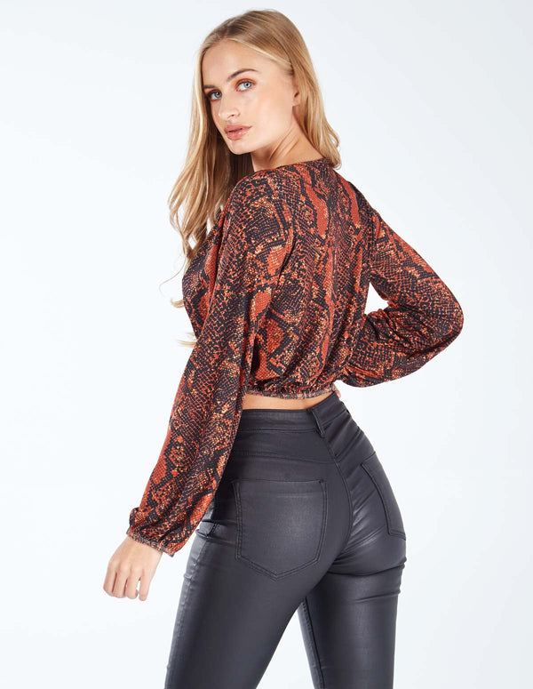 NAOMI - Long Sleeve Snake Skin Crop Top