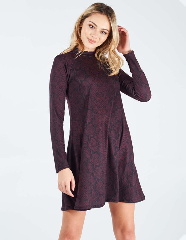 TAHIRA - High Neck Snake Print Swing Plum Dress