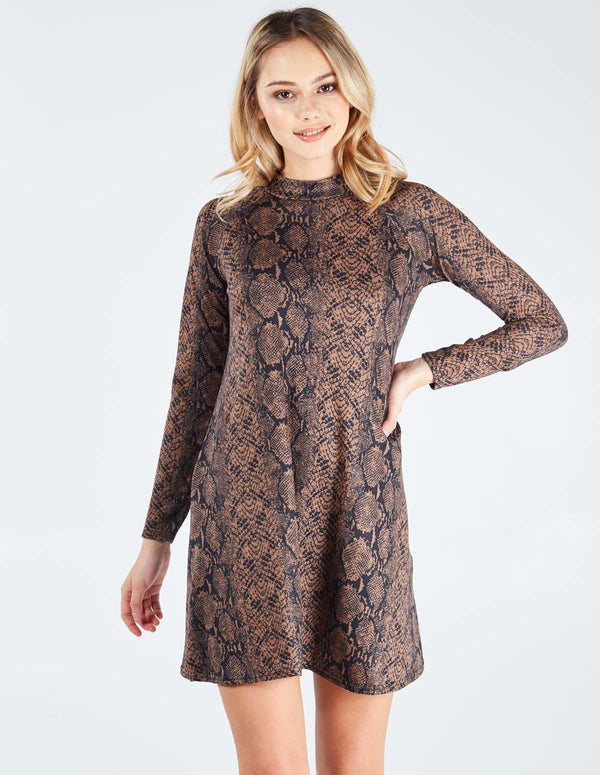TAHIRA - High Neck Snake Print Swing Tan Dress