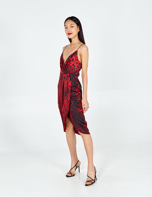SADIE - Leopard Wrap Front Slip Dress