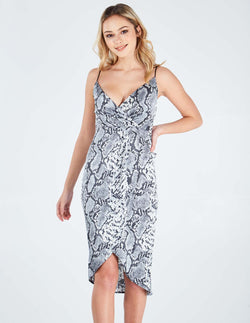 DELFINA - Wrap Front Snakeskin Slip Grey Dress