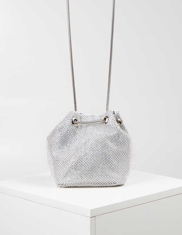 CHARLOTTE - Diamante Mesh Chain Drawstring Bag