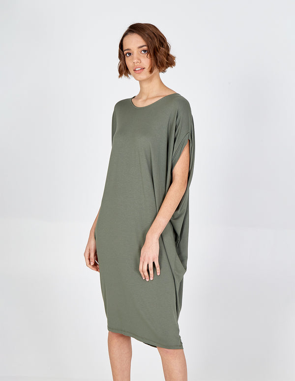 BIRDIE - Khaki Oversized Batwing Dress