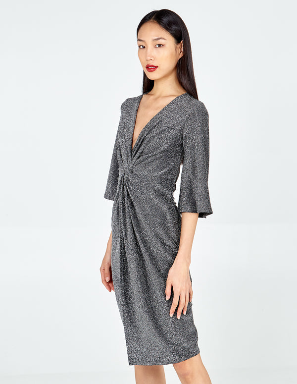 JACELYN - Twist Front Metallic Midi Dress