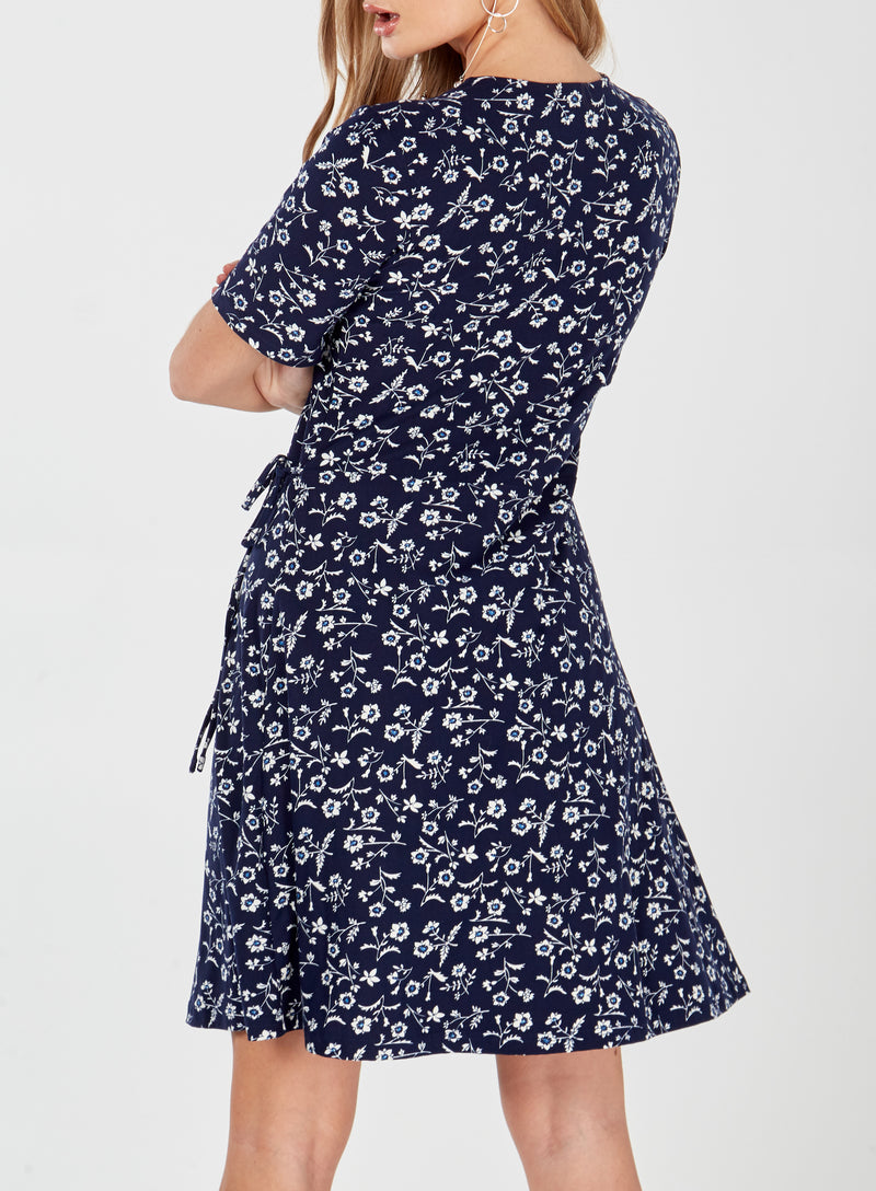 ELSIE - Floral Print Short Sleeve Navy Wrap Dress
