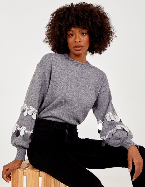 LEENA - Sequin Balloon Sleeve Jumper