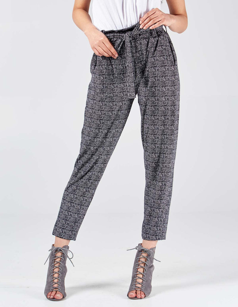SOPHIE - Paperbag Waist Checked Black Joggers