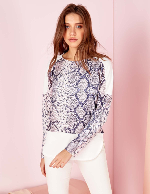 COSIMA - Long Sleeve Pink Snake Print Insert Top