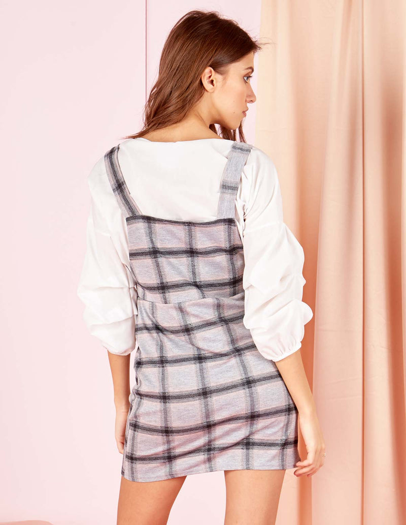 ISELLE - Check Pinafore Pink Dress