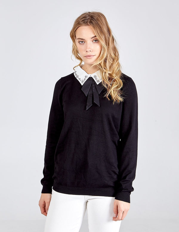 ARYA - Bling Embellished Collar Bow Jumper