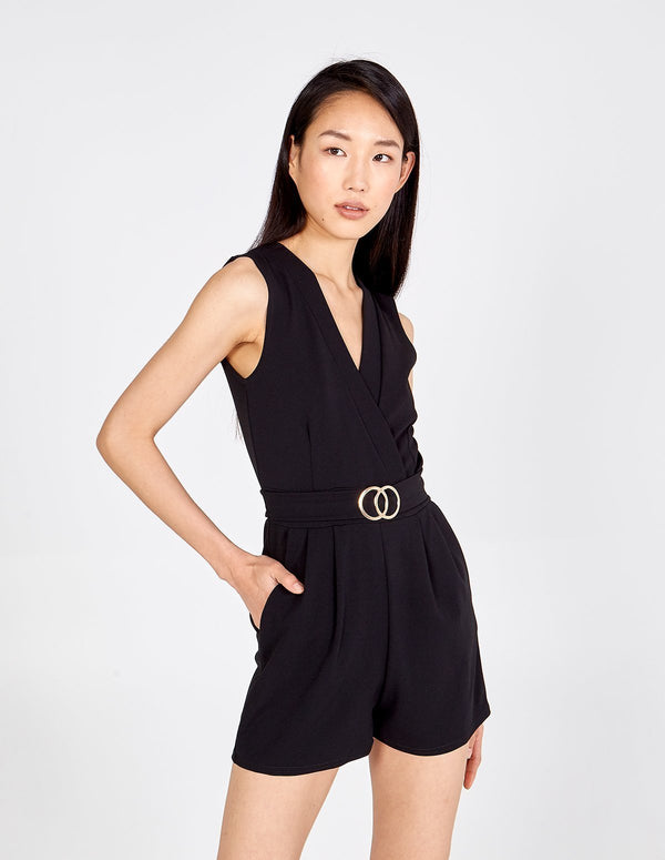 MOLLY - Belted Crossover Keyhole Tie Back Playsuit