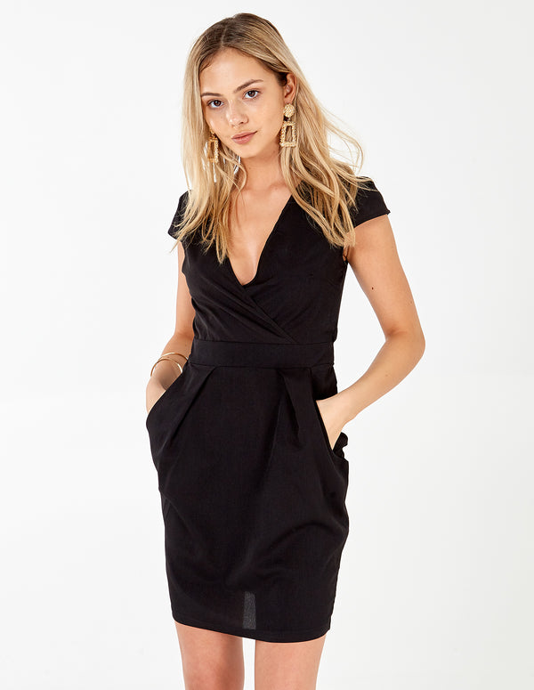 INAAYA - Plain Black Wrap Front Tulip Dress