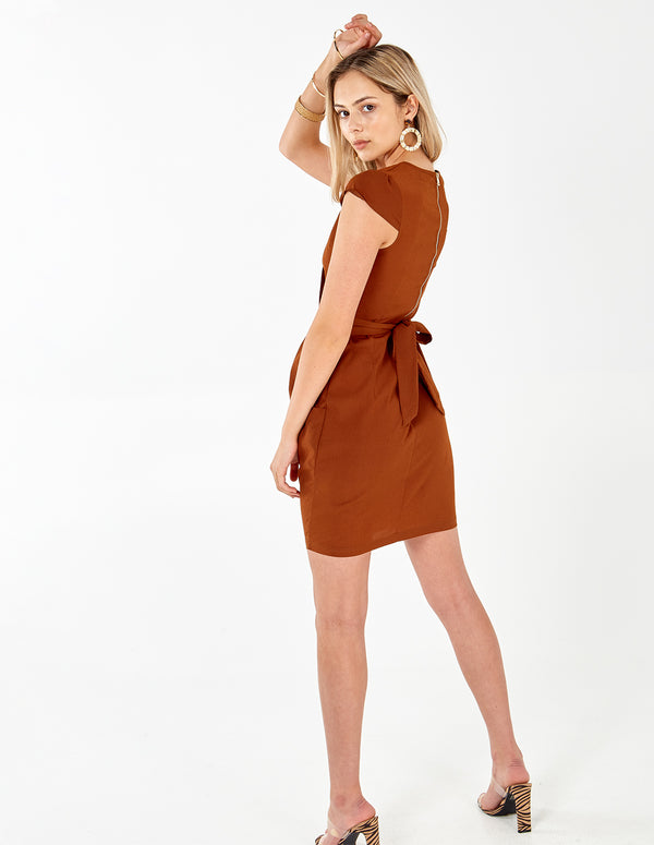 INAAYA - Plain Chocolate Wrap Front Tulip Dress