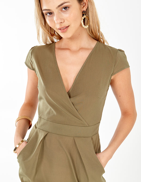 INAAYA - Plain Khaki Wrap Front Tulip Dress