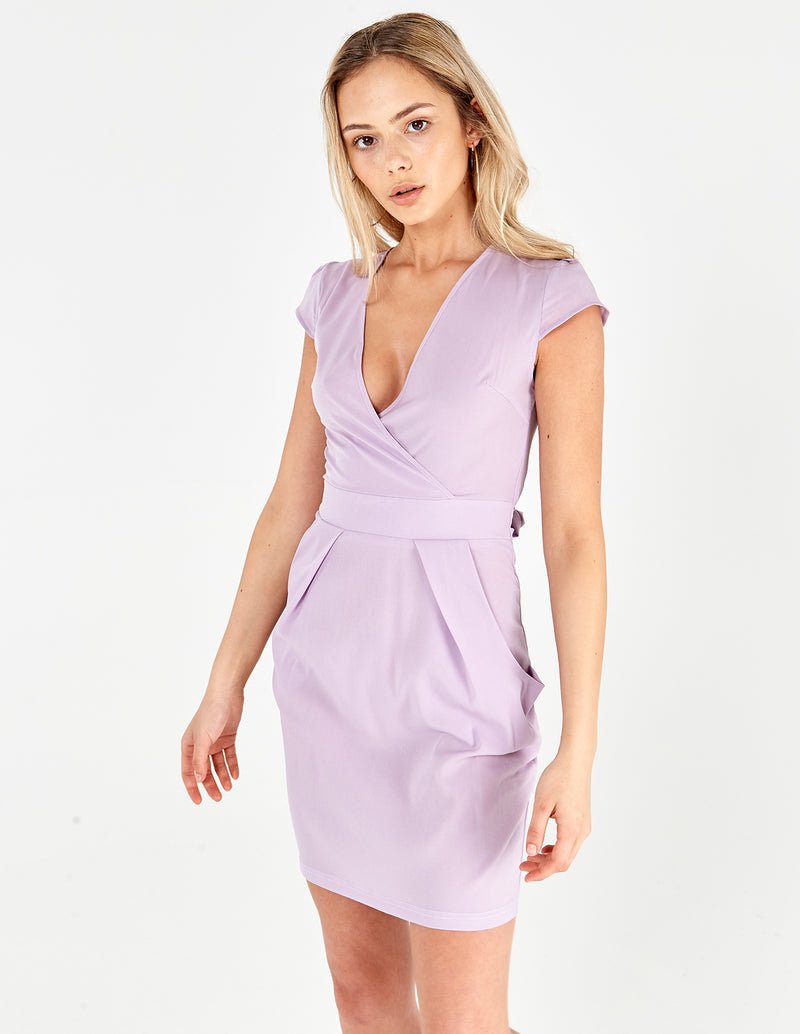 INAAYA - Plain Lilac Wrap Front Tulip Dress