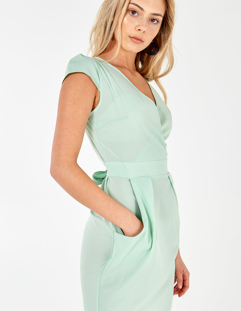 INAAYA - Plain Mint Wrap Front Tulip Dress