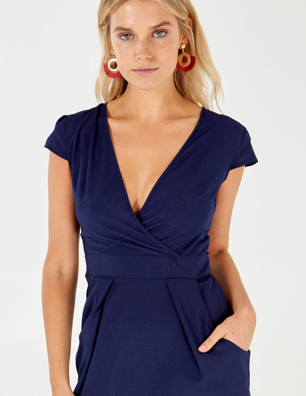 INAAYA - Navy Wrap Front Tulip Dress