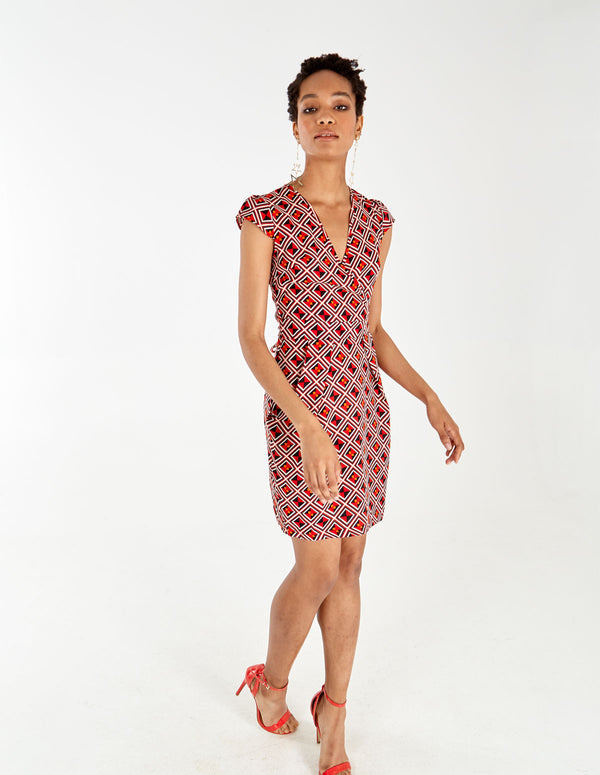 PHOEBE - Geometric Print Wrap Front Red Dress