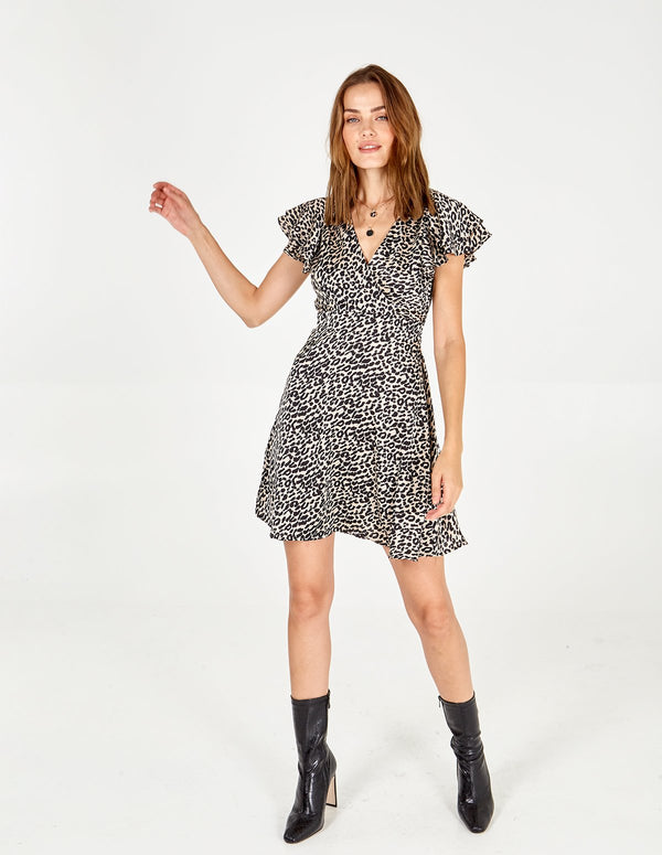 ANIMAL - Wrap Front Frill Slv Dress