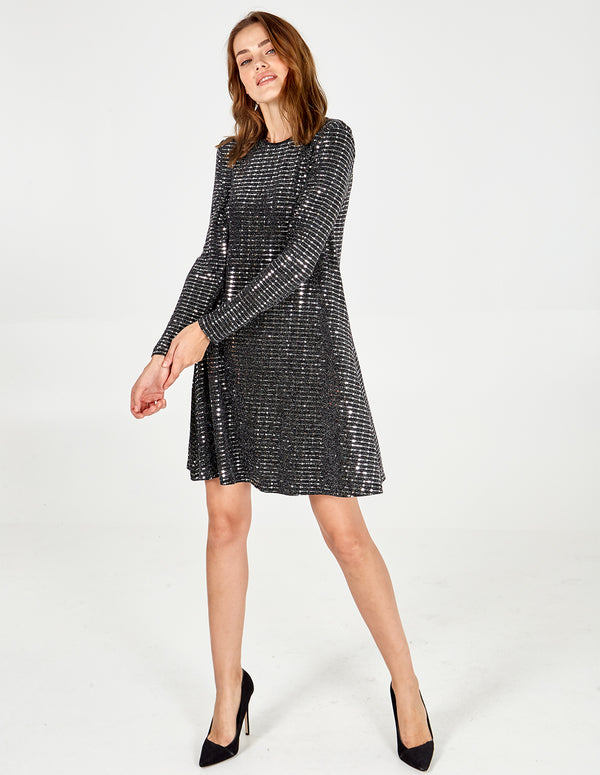 DEBORAH - Long Sleeve Mirrored Swing Dress