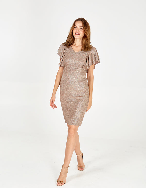 ROSEMARY - Frill Detail Metallic Dress