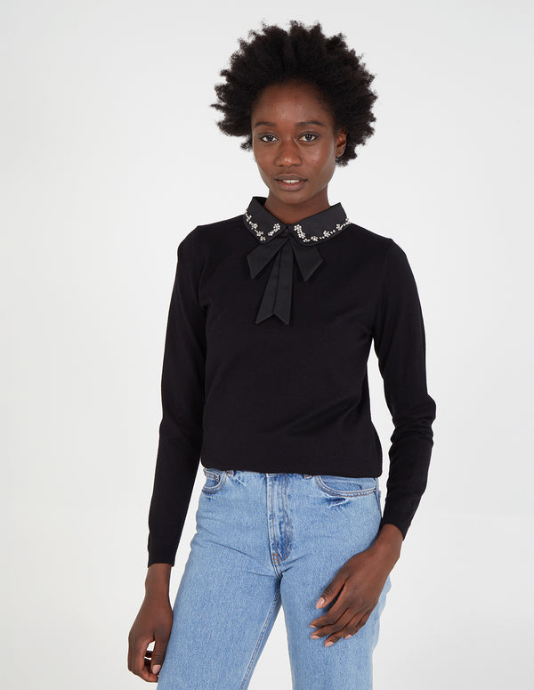 ANGELINA - Bling Collar Bow Jumper