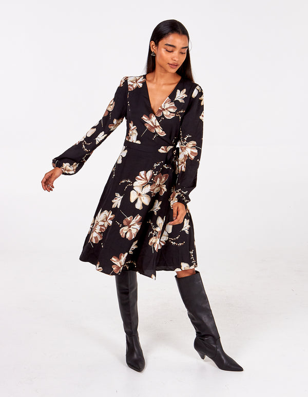 JANNAH - Large Floral Long Sleeve Wrap Dress